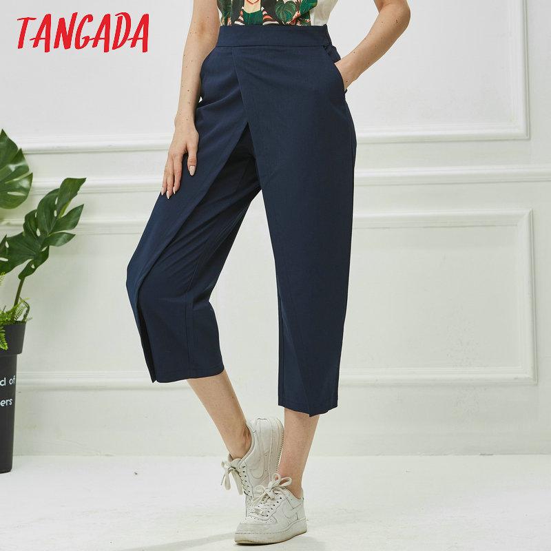 Tangada women elegant navy pants 19 ladies casual harem pants cotton cool korean fashion trousers mujer XD449 8