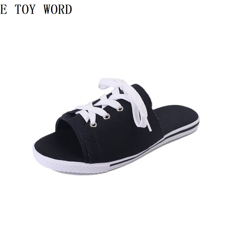 E Toy Word Summer new flat pure color leisure lace-up joker han edition suede tide female slippers