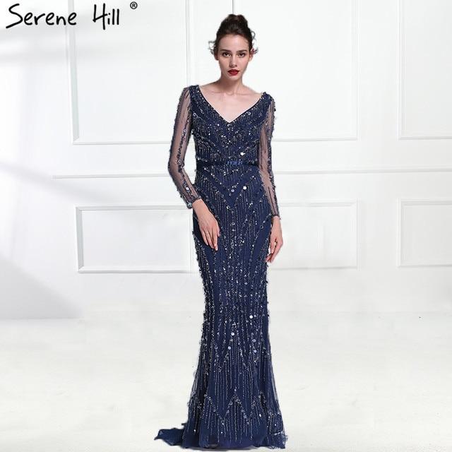 bdb75f98900 Dubai Robe De Soiree Luxus Langarm Abendkleider 2019 Real Photo Kristall  Pailletten Navy Blau Meerjungfrau Party Kleid BLA6010