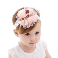 Baby Girl Lace Elastic Band Big Flower Bow Headband Kids Children Headwear Hair Accessories for 0 to 2 Years