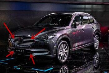 YENI Araba Ön 3D tampon Mesh Vent Delik Kir Izgara Izgaraları ve Sis Lambası Kapağı Düzeltir Için MAZDA CX-8 CX8 2017 2018 2019