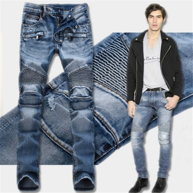 High quality Hip Hop Fashion Men Brand Paris Runway Stretch Jeans  Washed Acid Light Blue Biker Jeans Men Plus Size 28-36
