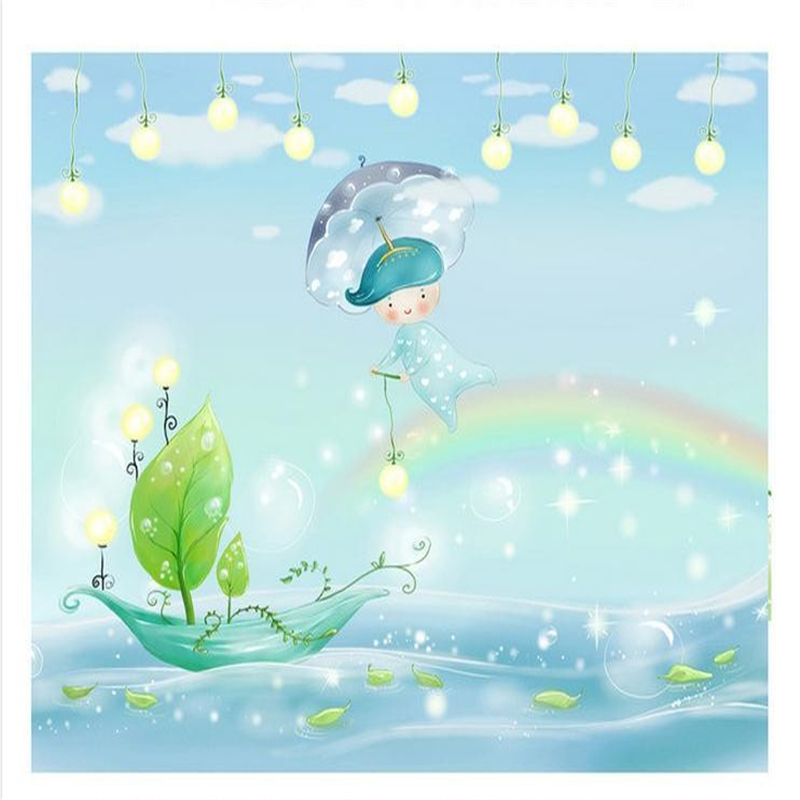 Kids Wallpaper: Beibehang Customzed 3d Kids Wallpaper Rainbow Night Flying