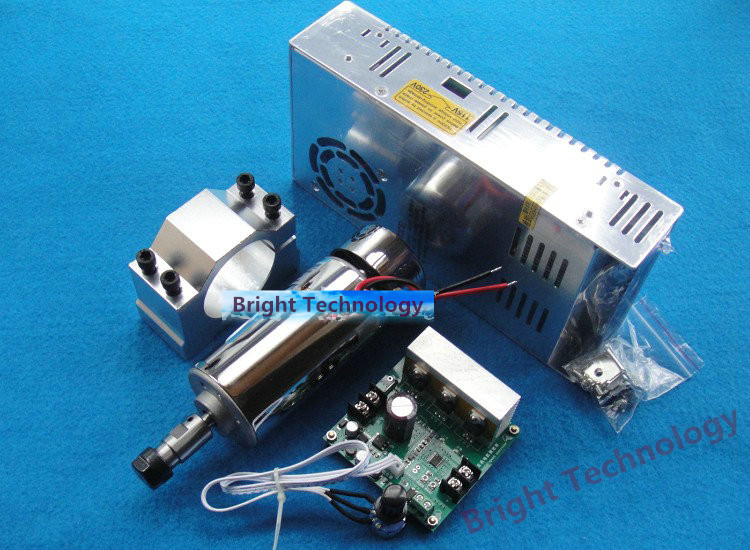 high speed spindle ER11 48V 400W brush air cooled PCB spindle motor + power supply + mach3 speed controller + fixed seat dc110v 500w er11 high speed brush with air cooling spindle motor with power fixed diy engraving machine spindle