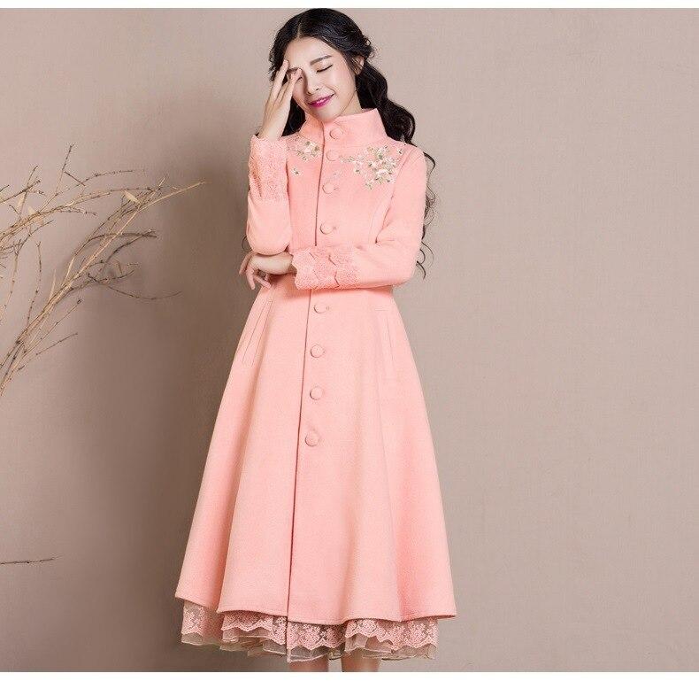 Ultra Manteau 2016 Mode Élégante Automne Femme Femelle Pink Et Montant Laine Mince Col Outwear Long D'hiver Broderie Rose De qw6nd7xqr