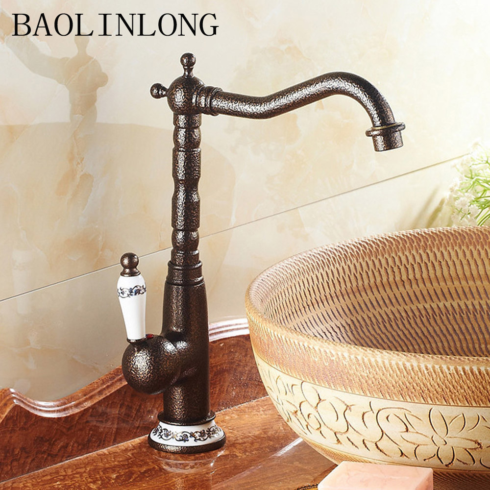 BAOLINLONG Antique Brass Deck Mount Bathroom Basin Faucets Vanity Vessel Sinks Mixer TapBAOLINLONG Antique Brass Deck Mount Bathroom Basin Faucets Vanity Vessel Sinks Mixer Tap
