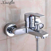 Wall Mounted Bathroom Faucet Bath Tub Mixer Tap Shower Faucet Chrome Finish Thermostatic Shower Mixer Hot