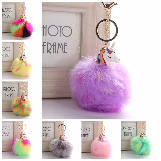 ce7dc75752 25 Kinds of Cute Metal Unicorn KeyChain Plush Toy Anime Horse Toy Pendant  Women Fluffy Fur Pom Pom Keyring Bag Hang Plush Toy