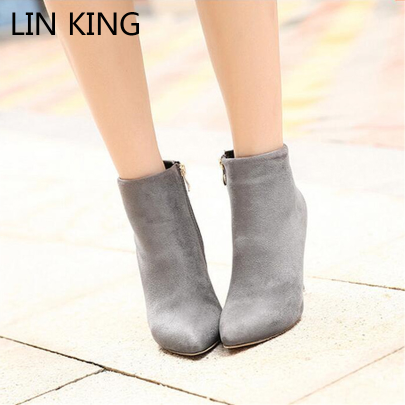 LIN KING Autumn Womens Wedding Boots Zipper Pointed Toe Stiletto High Heels Boots Ankle Short Shoes Suede Leather Botas Mujer egonery quality pointed toe ankle thick high heels womens boots spring autumn suede nubuck zipper ladies shoes plus size