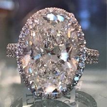 Choucong роскошное большое овальное кольцо из стерлингового серебра 925 пробы с кристаллами циркон cz обручальные Обручальные кольца для женщин вечерние ювелирные изделия подарок