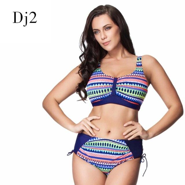 0738511f30c Plus Size Swimwear Women Bikini Push Up Brazilian Rainbow Striped Retro  High Waist Swimsuit Plus Size