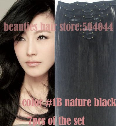 "16""-32"" 7pcs Set 100% Brazilian Remy Hair clips In/on Human Hair Extensions #1B Natutal black 70g 80g 100g 120g 140g"