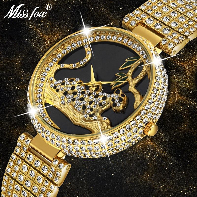 MISSFOX Women Watches Women Luxury Brand Fashion Black Leopard Gold Watch Diamond Womens Watches Top Brand Female Wrist Watch|Women's Watches| |  - title=