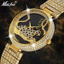 MISSFOX נשים שעונים נשים יוקרה מותג אופנה שחור נמר זהב שעון יהלומי נשים שעונים למעלה מותג נקבה שעון יד