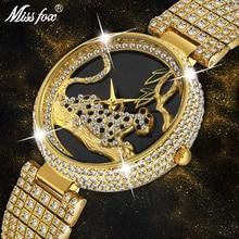 Missfox relógios femininos marca de luxo moda preto leopardo ouro relógio diamante das mulheres relógios marca superior feminino relógio de pulso
