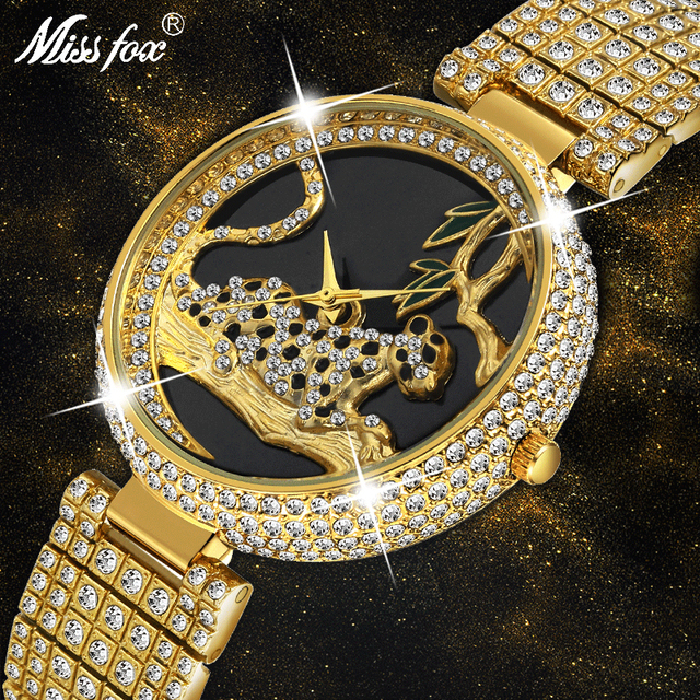 Mulheres Relógios Das Mulheres De Luxo de Estilo Da Marca 2019 Moda Preto Leopardo Relógio De Ouro Com Diamantes Mulheres Relógios Marca de Topo Relógio De Pulso Feminino