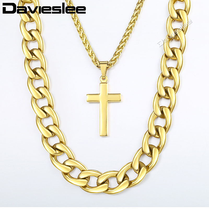 Davieslee Hip Hop Necklace For Men Gold Stainless Steel Cuban Wheat Link Chain Cross Pendant Necklace Jewelry 13mm 24inch LDN08 new men s hip hop necklace gold stainless steel curb cuban link chain cross pendant necklace for men jewelry 11mm 24inch dn05