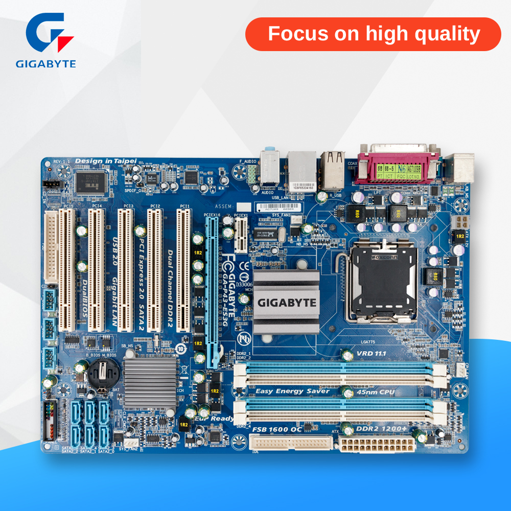 Gigabyte GA-P43-ES3G Original Used Desktop Motherboard P43-ES3G P43 Socket LGA 775 DDR2 ATX On Sale original used desktop motherboard for asus p5ql pro p43 support lga7756 ddr2 support 16g 6 sata ii usb2 0 atx