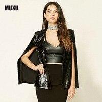MUX autumn new fashionable party club coat women Black sequins Jackets Fashion winter ladies coat sequin woman jacket bolero