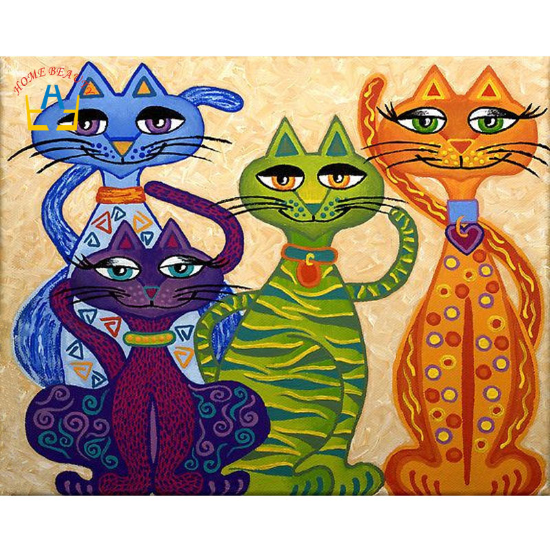 D diamond painting colorful cat picture full drill on