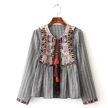Vintage Embroidered Ethnic Women Jacket Drawstring Round Neck Long Sleeve Casual Coats Autumn Thin chaquetas mujer CCWM8140