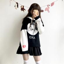 Women Harajuku Hoodies Black White Kawaii Janpanese Anime Printed Patchwork Hooded Sweatshirts Sweet Heat Girl's Cute Clothes
