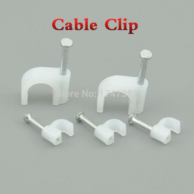 100pcs 25mm Round Steel Nail Cable Wire Wall Hanging Clips Clip For Rg59 Rg6