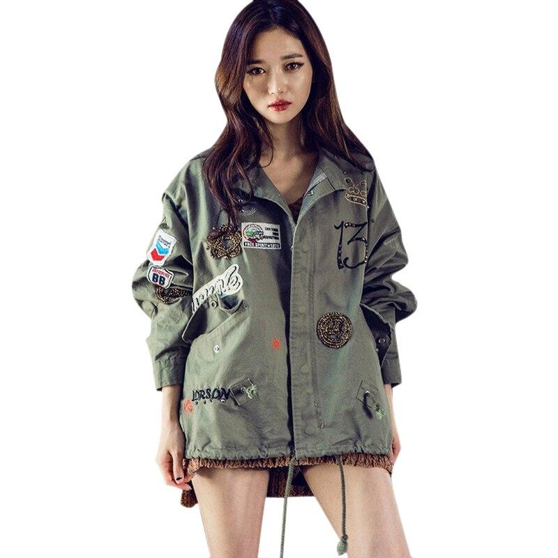 Mujeres Capa de la Chaqueta de bombardero chaqueta de Diseño de Moda Apliques B