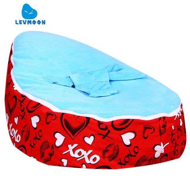 Levmoon Médio Amante Vermelho Cadeira do Saco de Feijão Crianças Cama Para Dormir Portátil Criança Dobrável Assento Do Sofá Zac Sem O Enchimento