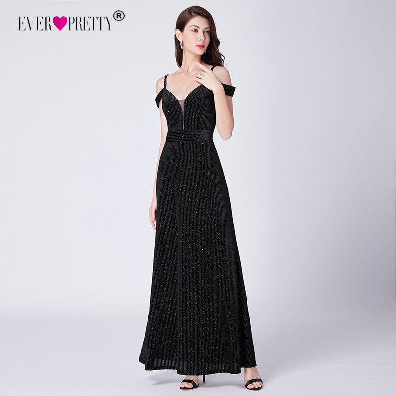 Black   Evening   Gown Ever Pretty New Arrival Off-Shoulder Sparkle Mermaid Backless Sexy Vesrido De Fiesta Elegant   Evening     Dresses