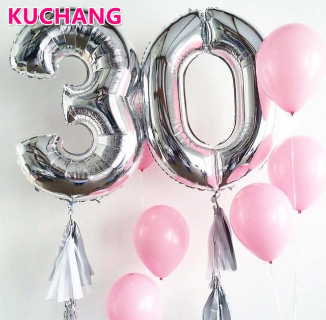40inch Adult Party 30th Birthday Big 30 Number Foil Balloons Digit Helium Wedding Decorations Supplies