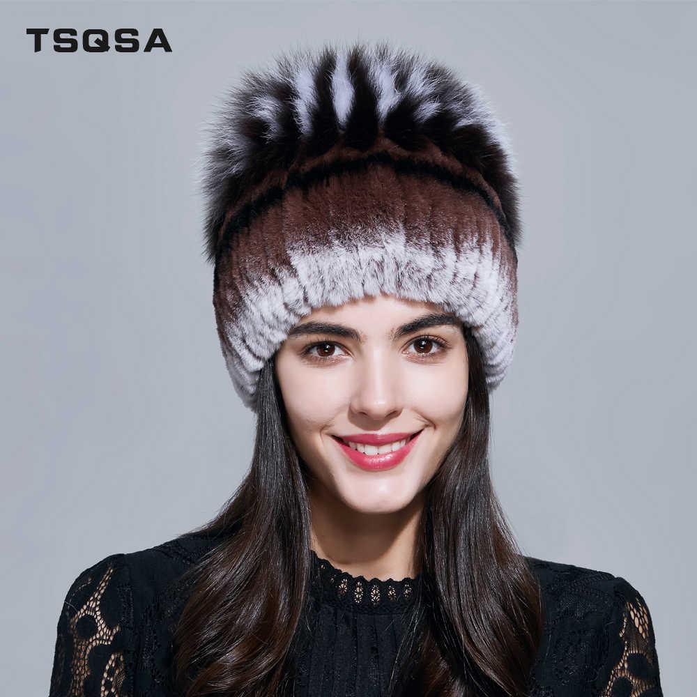 TSQSA Natural Rex Piel de conejo con piel de zorro de punto gorros  sombreros de las 594615499ca