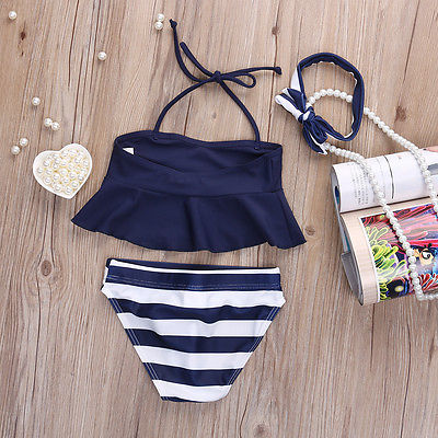 2017 Summer New Brand Children Girls Bikini Set Suit Navy Swimsuit Swimwear Bathing Swimming Clothes 2017 new children