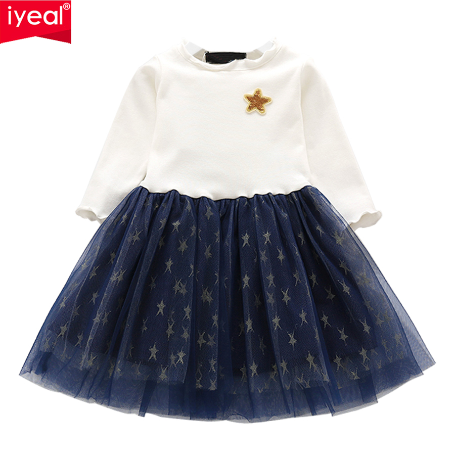 IYEAL New Fashion Baby Girl Sequins Dress Star Printed Patchwork Long Sleeve Princess Children Party Dresses for Kids Girls 2-7Y 2 7y princess children girls white lace dress brand new long sleeve toddler kids elegant party dresses one pieces clothing
