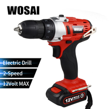 WOSAI 12V Lithium Battery Electric Drill Bit Two-Speed Electric Cordless Drill Mini Screwdriver Hand Drill Electric Power Tools hilda 16 8v electric screwdriver lithium battery 2 electric drill furadeira cordless screwdriver power tools with drill bit case