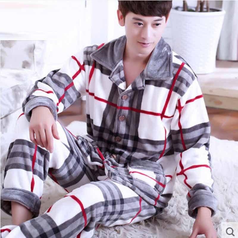 Men Flannel Pajamas Set Casual Home Clothing Winter Long Sleeve Round Neck Cartoon Men's Sleepwear Pyjamas Homme Nightclothes 4