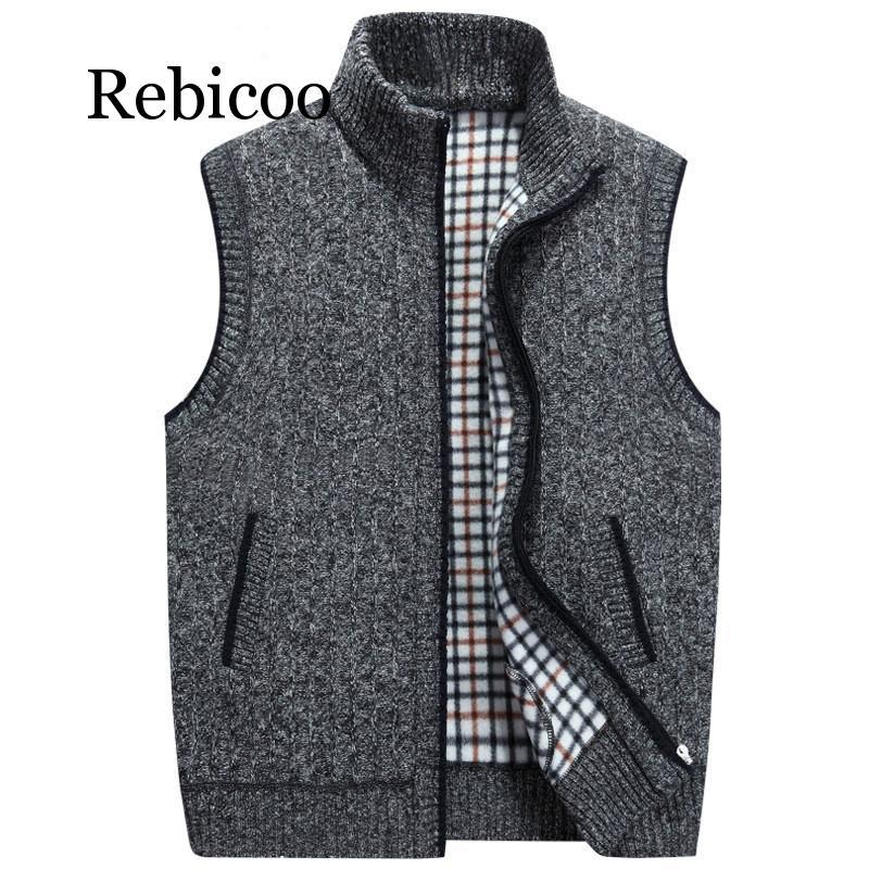 Mens Winter Wool Sweater Vest Mens Sleeveless Knitted Vest Jacket 2019 New Warm Fleece Sweatercoat