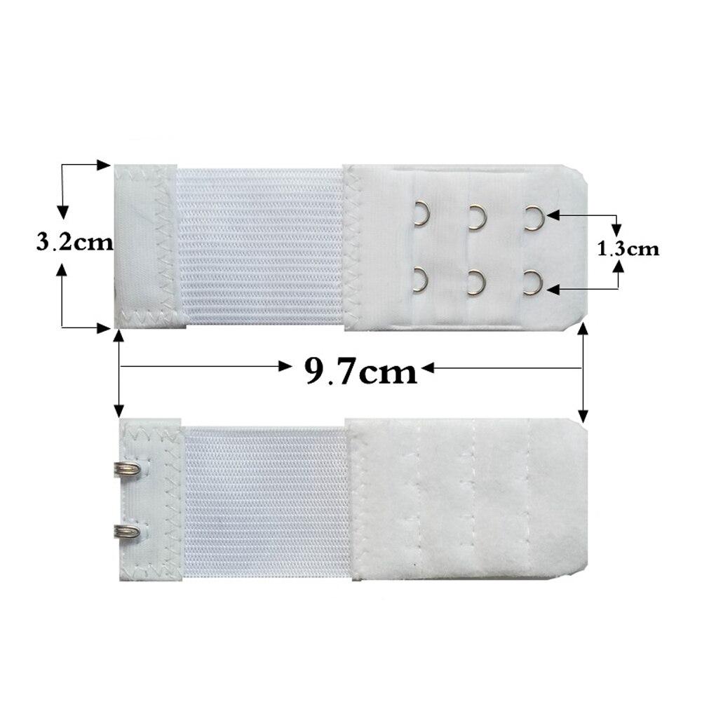 Женский бюстгальтер с 3 рядами, 2 крючка, эластичный, регулируемый, удлиненный, застежка, покрытая пуговицей, нижнее белье, аксессуары для бюстгальтера - Цвет: Белый