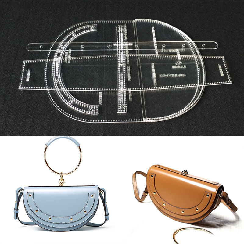 Acrylic Stencil laser cut durable Template Pattern For DIY Handmade Single Shoulder Bag Leather Craft Sewing Pattern Sewing