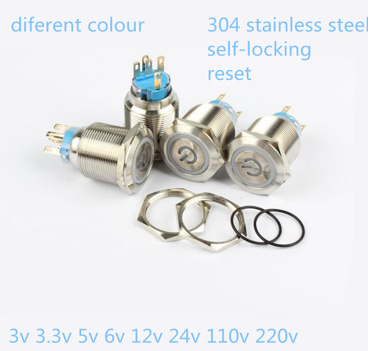 22mm waterproof locking /reset 304 stainless steel LED Metal push button switch with switch symbol led light 50pcs lot 6x6x7mm 4pin g92 tactile tact push button micro switch direct self reset dip top copper free shipping russia