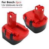 2 bateria de substituição do ni-cd 2000 mah 12 v para bosch bat045 bat120 bat043 22612 23612 gli 12 v exato 700 psr 12ve-2 ferramentas elétricas