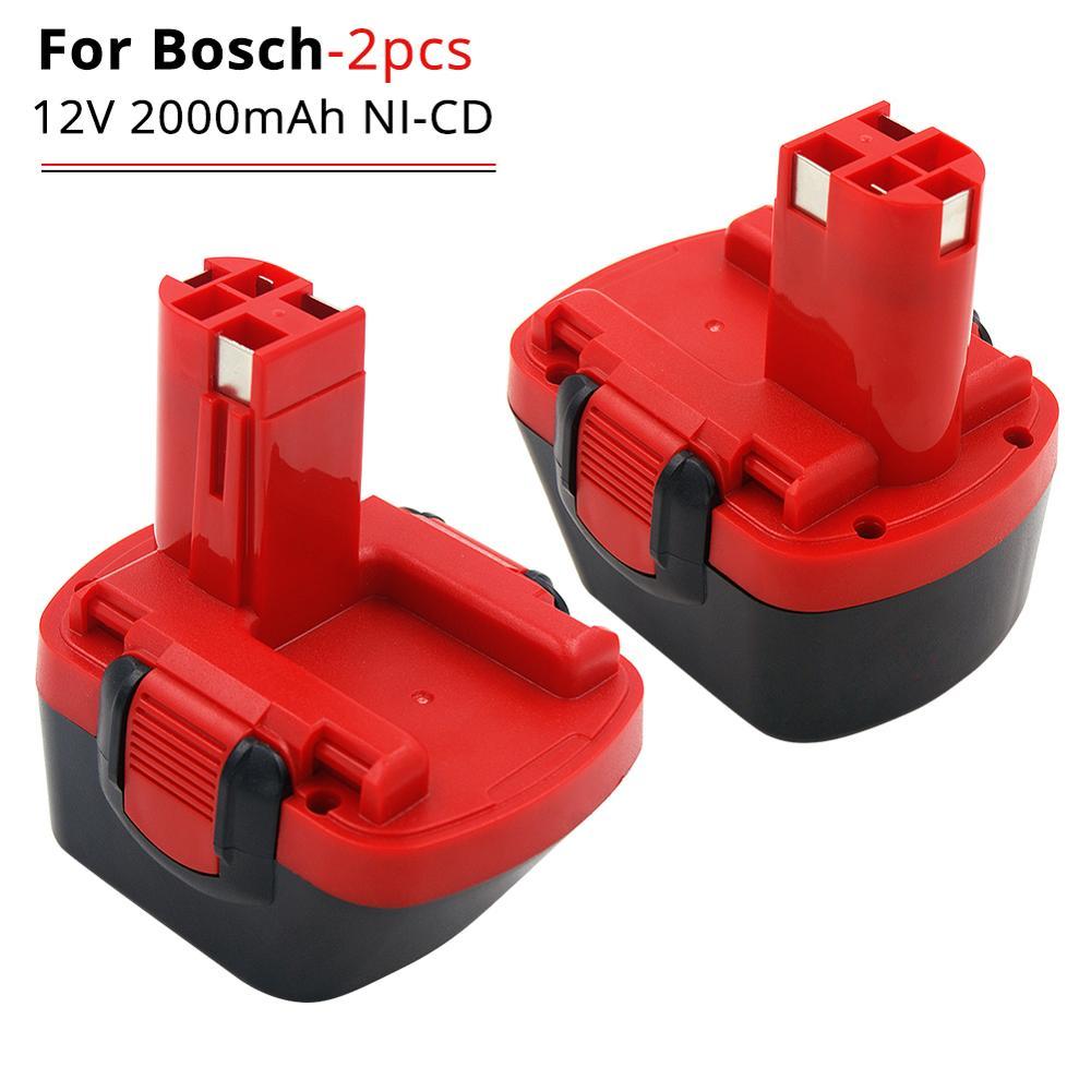 Paquet de 2 batterie de remplacement ni-cd 2000 mAh 12 V pour Bosch BAT045 BAT120 BAT043 22612 23612 GLI 12 V Exact 700 PSR 12VE-2 outils électriques