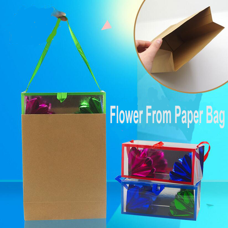 Flower Box From Bag Free Shipping Stage Magic Tricks Props Party Used Easy Doing Professional Magician