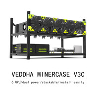 6 GPU Dual Power Mining Case Aluminum Stackable Open Air Miner Frame Rig For VEDDHA V3D