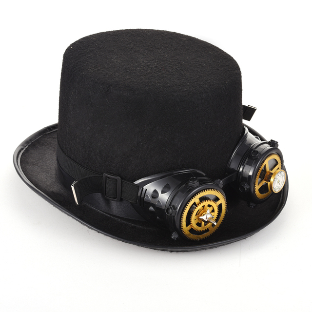 29b16d6d0277ca Unique Black Steampunk Top Hat Goggles Gear Cogs Spiks Vivet Glasses Gothic  Hats Steam Punk