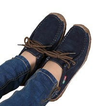 2017 spring women genuine leather shoes woman Hand-sewn suede leather flats cowhide flexible boat shoes women loafer plus size