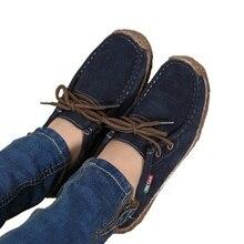 2017 весна женщин обувь из натуральной кожи женщина Ручной сшиты замши кожаные квартиры коровьей гибкие лодке обувь женщины бездельник плюс размер