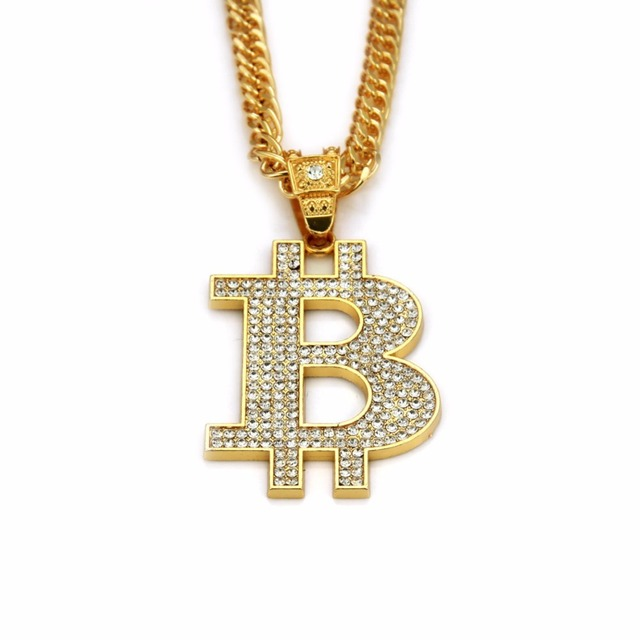 Bitcoin Gold and Bling Necklace 3