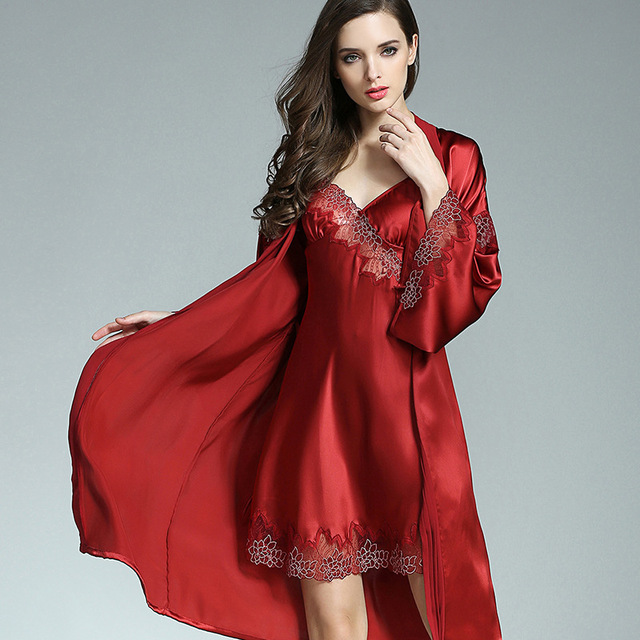 100% Silkworn Silk Women Sleeping Robe Nightdress Two-Piece Sets  Spring Summer New Sexy Real Silk Sleepwear Female P9930