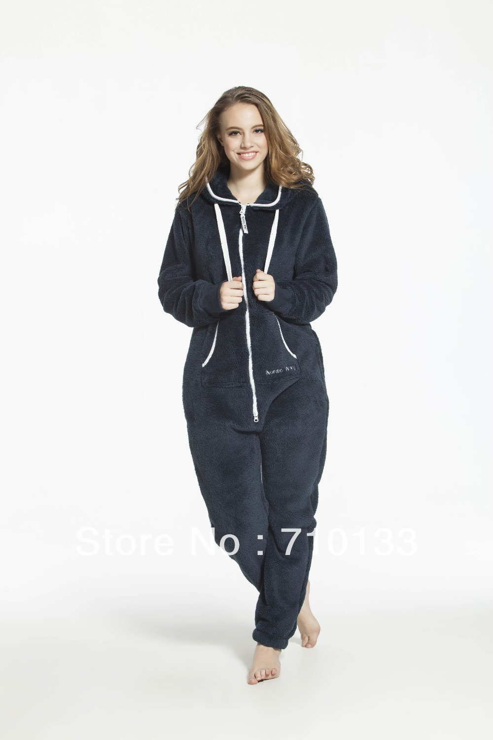 einteiliger Overall All-in-One-Anzug für Erwachsene (unisex) Fleece Jump-in-Suit-All-in-One-Overall aus Teddy-Fleece